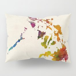 Philippines Watercolor Map Pillow Sham