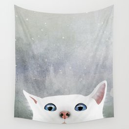 Curious White Cat Wall Tapestry