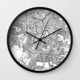 Santiago White Map Wall Clock