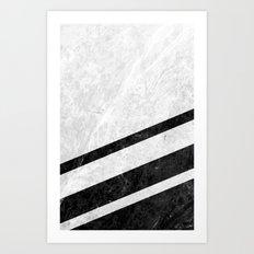 White Striped Marble Art Print