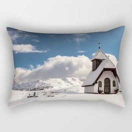 Little chapel on the top of the mountain Rectangular Pillow