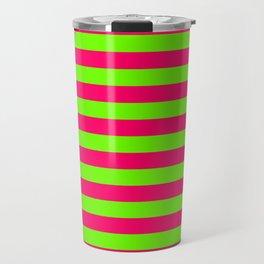 Super Bright Neon Pink and Green Horizontal Beach Hut Stripes Travel Mug