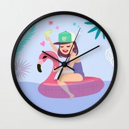 Yolo the Flamingo Wall Clock