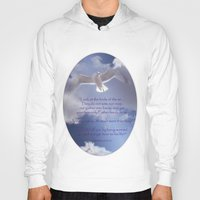 bible verses Hoodies featuring Seagull with Matthew 6:26-26 Verses by Photos and Images by Corri