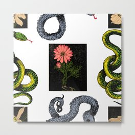 Plants & Snakes - Flower Metal Print
