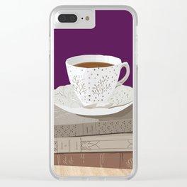 Teacup, Jane Austen, & Charlotte Brontë Books Clear iPhone Case