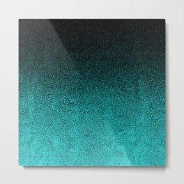 Aqua & Black Glitter Gradient Metal Print
