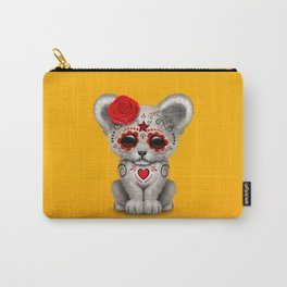 Red and Yellow Day of the Dead Sugar Skull White Lion Cub Carry-All Pouch