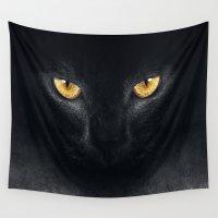 black cat Wall Tapestries featuring Black cat by RIZA PEKER