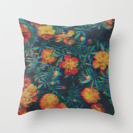Melted Orange Flowers Throw Pillow