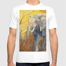 Elephant  White Mens Fitted Tee MEDIUM