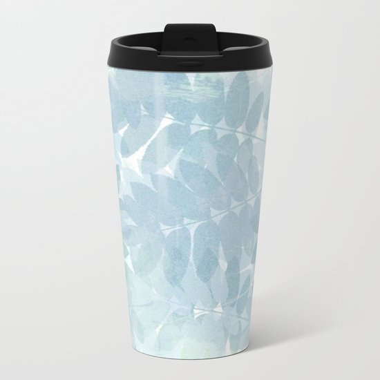 Vintage Blue Leaf Abstract Metal Travel Mug