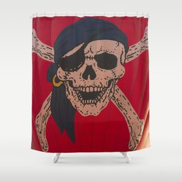 A Skull and Crossbones with a bandana and an eyepatch decorates a hot air balloon on the rise Shower Curtain