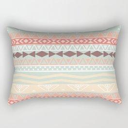 Aztec In Fall | Retro Pink Brown Teal Geo Pattern Rectangular Pillow