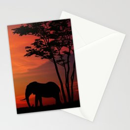 Elephants in the African sunset Stationery Cards
