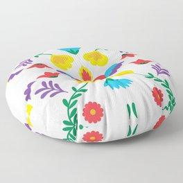 Mexican Otomi Embroidery Folk Art Sacred Heart Evil Eye Floor Pillow