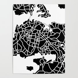 Auckland, New Zealand - Black Map Poster