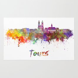 Tours skyline in watercolor Rug