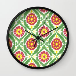 Hand painted red green yellow watercolor motif Wall Clock