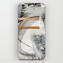 Armor [7]: a bold minimal abstract mixed media piece in gold, black and white iPhone Skin