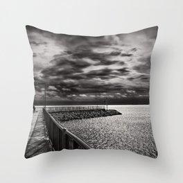 Rogers City Marina Morning Throw Pillow