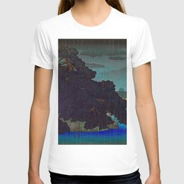 Vintage Japanese Woodblock Print Raining Landscape Tree On Rock Leaning Into The Lake Comforting Nig T-shirt