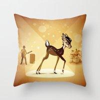 bambi Throw Pillows featuring BAMBI by kravic