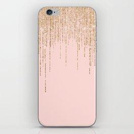 Luxury Blush Pink Gold Sparkly Glitter Fringe iPhone Skin
