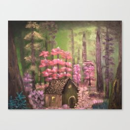 Enchanted cabin in the woods Canvas Print