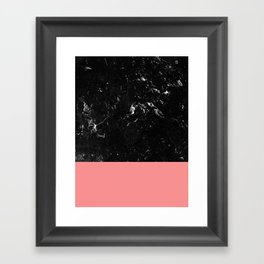 Coral Meets Black Marble #1 #decor #art #society6 Framed Art Print