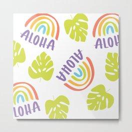 Monstera Aloha White Background Metal Print