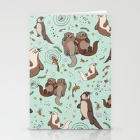 otters Stationery Cards featuring Sea Otters by Nemki
