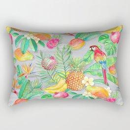 Tropical Paradise Fruit & Parrot Pattern Rectangular Pillow