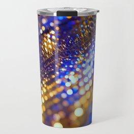 Gold Blue bokeh Travel Mug