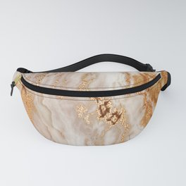 Glamorous Gold Glitter Vein Marble With Copper Sparkles Fanny Pack