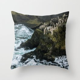 Castle ruin by the irish sea - Landscape Photography Throw Pillow