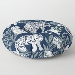 Nouveau white tigers // navy blue background green leaves silver lines white animals Floor Pillow