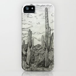 Saguaro Cactus Pencil Drawing iPhone Case