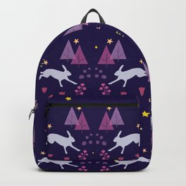 Hares Flowers And Trees On Dark Blue Backpack