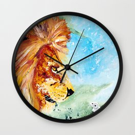 The Lion and the Rat - Animal - by LiliFlore Wall Clock