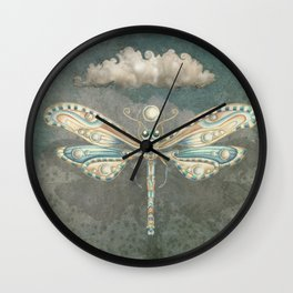 Dragonfly of the moon Wall Clock