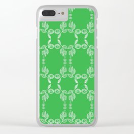 Hand drawn Seed Pods White on Spring Green Clear iPhone Case