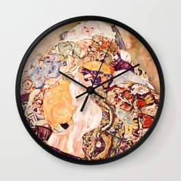 Baby by Gustav Klimt 1908 // Color Enhanced Oil Canvas Painting of Child Covered in Colorful Fabrics Wall Clock