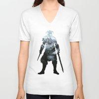 skyrim V-neck T-shirts featuring Skyrim by Ioana Muresan