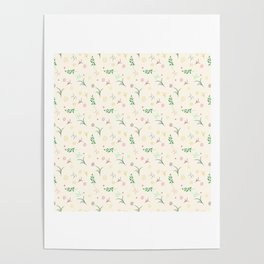 Floral pattern in doodle style with flowers and leaves. Poster