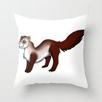 ferret Throw Pillows featuring Ferret! by Sarah Engbretsen