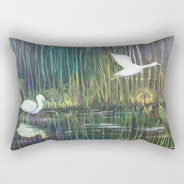Geese at Amethyst Lagoon Rectangular Pillow