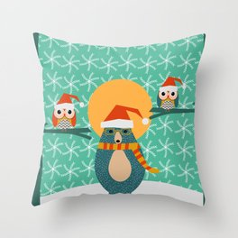 Christmas bear and two little owls Throw Pillow