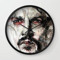 johnny depp Wall Clocks featuring Johnny Depp by KlarEm