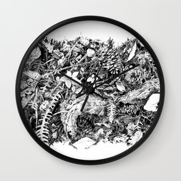 Inky Undergrowth Wall Clock